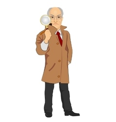 Detective exploring through magnifying glass vector