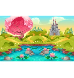 Fantasy landscape with castle in the countryside vector