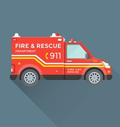 fire rescue department emergency car vector image vector image