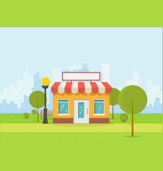 Flat store and city vector