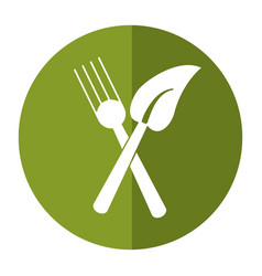 Fork leaf healthy food symbol shadow vector