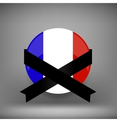 Franch Icon and Black Ribbon vector image