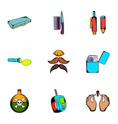 Keeker icons set cartoon style vector