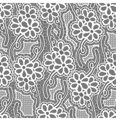 Lace dark seamless pattern with flowers on gray vector