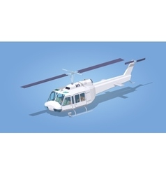 Low poly white helicopter vector image