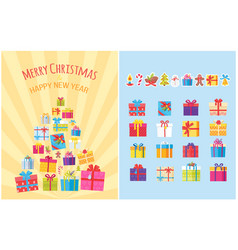 merry christmas poster with present boxes symbols vector image