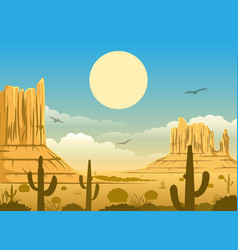 Mexican desert sunset background vector