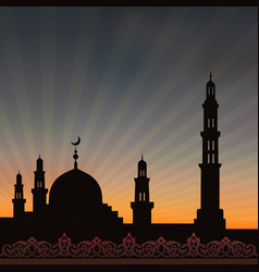 Mosque with minaret vector