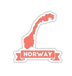 Paper sticker on white background norway map vector