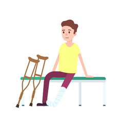 patient on crutches with broken leg icon vector image