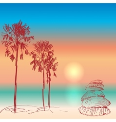Seascape with palm trees and seashells sunset on vector image