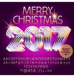 Silver glamour merry christmas 2017 greeting card vector