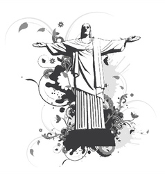 statue with floral and splash vector image