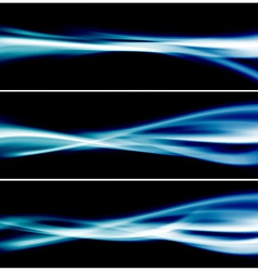 Three bright blue glow header neon swoosh line vector image vector image