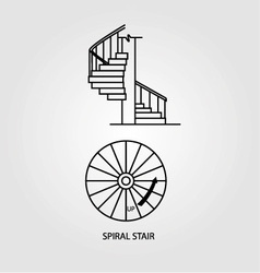 Top view and side view of a spiral staircase vector