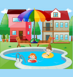 Two kids swimming in backyard vector