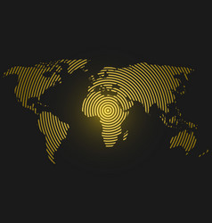 world map of yellow concentric rings on dark grey vector image vector image