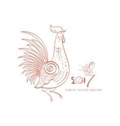 Line-art fantasy rooster vector image