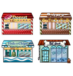 A donut store bakery fish and chips store and a vector image