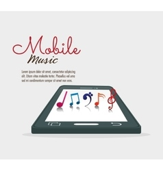 Cellphone with note music mobile vector