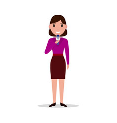 Cartoon girl reporter with a microphone vector