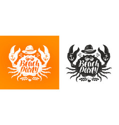 Crab typographic design travel journey concept vector