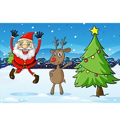 Santa and a deer beside the christmas tree vector