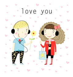 Love with a boy and a girl vector