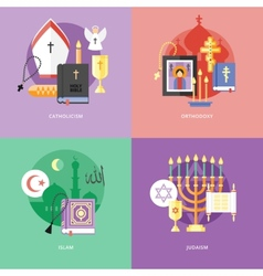 Set of flat design concept icons for religions and vector