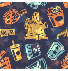 Seamless pattern with cinema icons vector