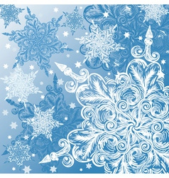 Doodle snowflake christmas background vector