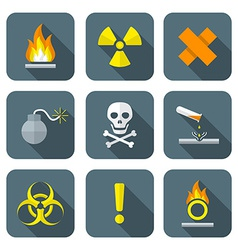Colorful flat style hazardous waste symbols vector