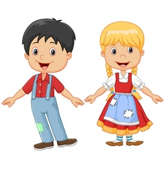 Cartoon little kid happy hansel and gretel vector