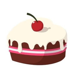 Chocolate cake with cherry cartoon icon vector