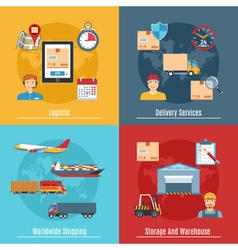 Logistic And Transportation Concept Set vector image