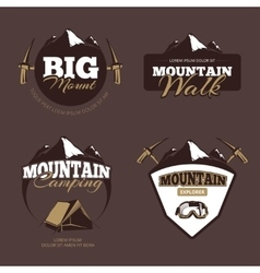 Outdoor mountain camping alpinism emblems vector
