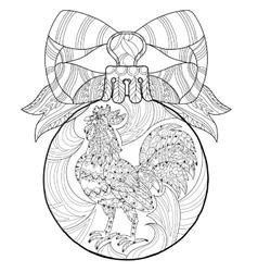 Roosterhand drawn doodle zen art vector