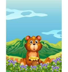 A bear at the flower plantation vector