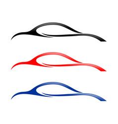 abstract car swoosh shapes symbol vector image