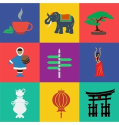 asia flat color vector image