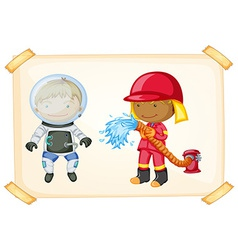 Astronaut and firefighter vector image