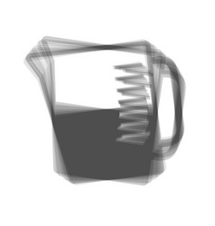Beaker sign gray icon shaked at white vector