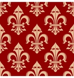 Beige and red french fleur-de-lis seamless pattern vector