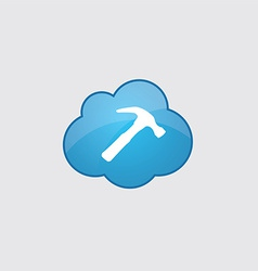 Blue cloud Hammer icon vector image