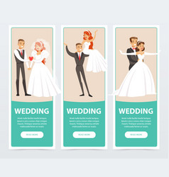 Brides and grooms happy just married couples vector