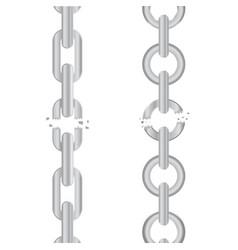 broken torn chain vector image vector image