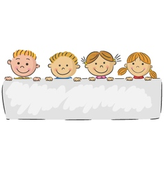 Cartoon little kids holding banner vector image