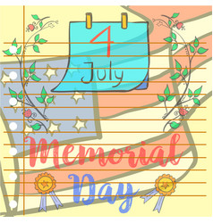 Collection style memorial day vector