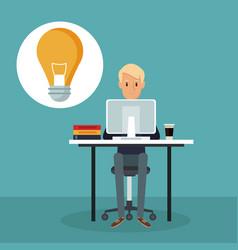 Color scene background side view web developer man vector
