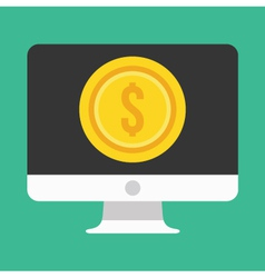 Computer Display and Gold Coin Dollar Icon vector image vector image